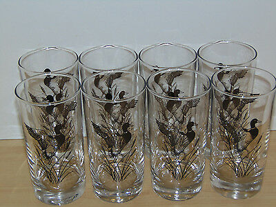 Vintage Set of Eight 5 1/2'' Drinking Glasses-Mallard Ducks Silhouettes-Ex. Cond