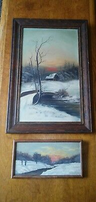 Lot (2) Antique Victorian Oil Painting Of Farm House Creek Sunset Rare Iowa Find