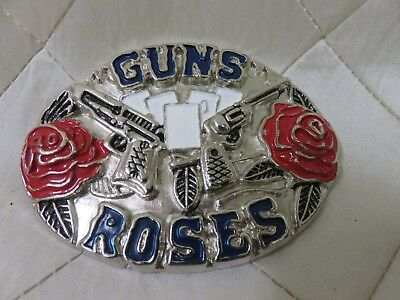 Guns n Roses Belt Buckle Enamel Metal Rock Band Logo 2 x 3""