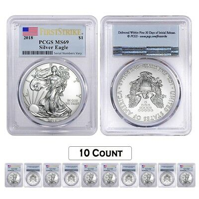 Lot of 10 - 2018 1 oz Silver American Eagle $1 Coin PCGS MS 69 FS (Flag Label)