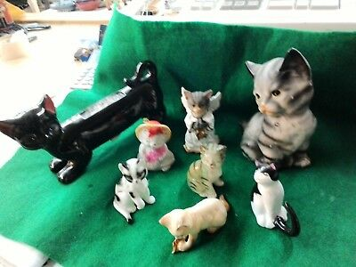 Vintage Lot Of 8 Cats Miniature Figurines Ceramic Porcelain cats of character,