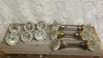 Lot of 12 (6 Sets) Antique Salvaged Crystal 12 Point Door Knobs