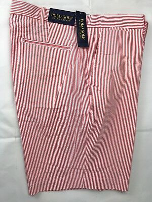 Polo Golf Ralph Lauren Mens Shorts Pink White Striped Seersucker Cotton Poly NEW