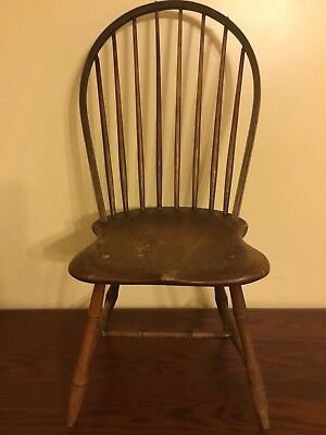 "Superb Early Original Bow Back Windsor Side Chair 36"" High"