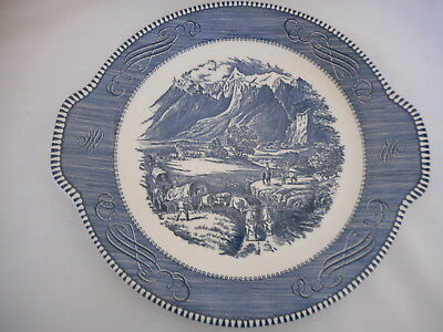 Currier & Ives Royal China blue white Rocky Mountains Tabbed Serving Cake Plate