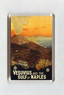 Vintage Travel Poster Fridge Magnet - Vesuvius And The Gulf Of Naples