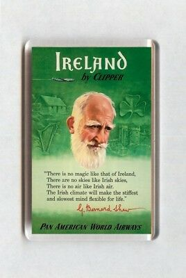 Vintage Travel Poster Fridge Magnet - Ireland By Clipper Pan American