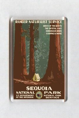 Vintage Travel Poster Fridge Magnet - Sequoia National Park