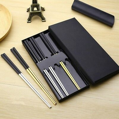 1Pair Reusable Chopsticks Metal Korean Chinese Stainless Steel Chop Sticks Gift