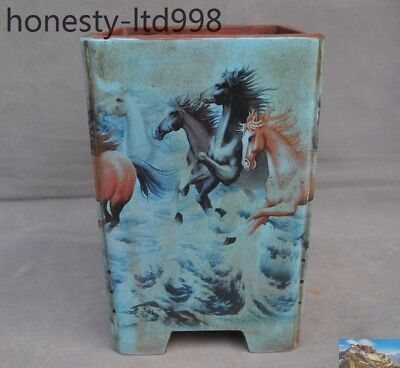 "Chinese Yixing Zisha Pottery Painted horse ""马到成功""Bonsai potted plants flower pot"