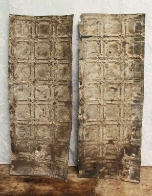 "Pair of Antique Salvaged Shabby Chic Tin Ceiling Tiles 32 1/4"" X 12 1/2"""