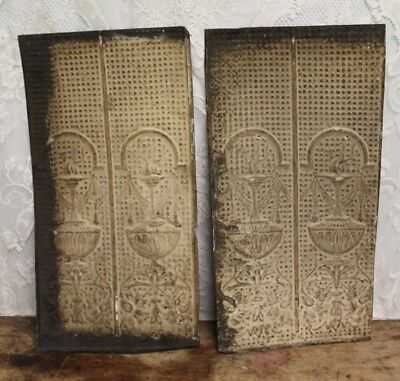 "Pair of Antique Salvaged Shabby Chic Tin Ceiling Tiles 23 3/4"" X 12 1/4"""