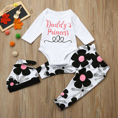 Pretty Toddler Infant Baby Girls Letter Romper Tops+Floral Pants Hat Outfits Set