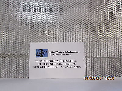 """1/4"""" Holes 20 Gauge 304 Stainless Steel Perforated Sheet-- 8"""" X 12"""""""