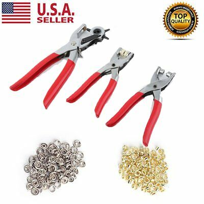 3pc Leather Belt Hole Punch&Eyelet Plier &Snap Button Grommet Setter Tool Kit FH