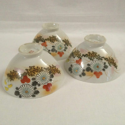 Vintage Japanese Hand Painted Rice Bowl (set of 3)