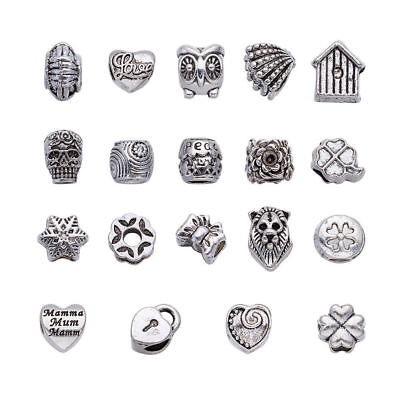 100pcs Mixed Alloy Metal European Beads Large Hole Charms Antique Silver 10~14mm