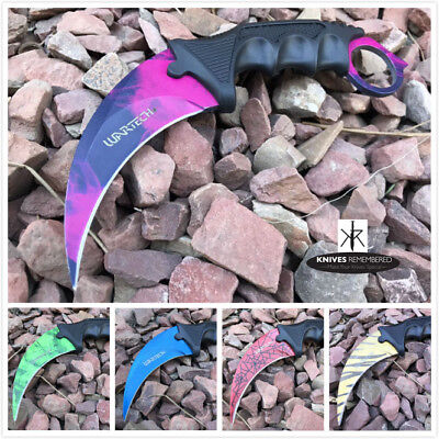 CS GO TACTICAL KARAMBIT KNIFE Survival Hunting BOWIE Fixed Blade ABS Handle