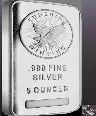 Sunshine Mint 5 oz Silver Bar **.999 fine, Factory Sealed, & with MintMark SI**