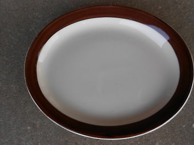 "Shenango Restaurant Ware Oval 8"" Platter/Plate Interpace Brown Band  USA"