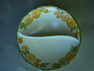 Sculptured Zinnia Metlox Divided Serving Bowl Poppy Trail California Pottery