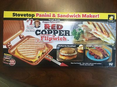 Red Copper Flipwich Stovetop Panini Sandwich Maker Grill Griddle As Seen On TV