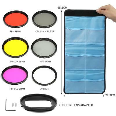 6pcs UV CPL ND2 58mm Graduated Colore Filter Lens Kit for GoPro Hero 5/6 Camera