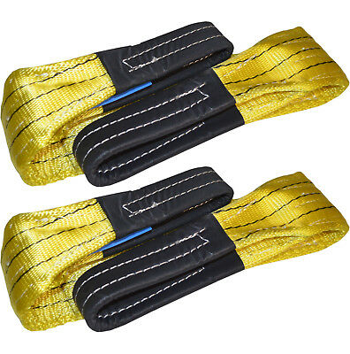 1 Pair of 1 meter x 3 TONNE Duplex Webbing Lifting Sling Straps Strops 90mm wide