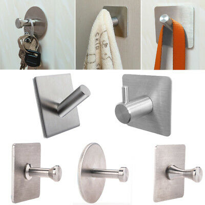 Stainless Steel 3M Self Adhesive Hooks Key Rack Sticky Towel Hanger Wall Mounted