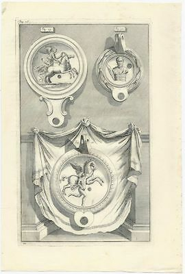 Ancient Roman Lamps Excavated in Rome - a1728 Engraved Plate - Bellori (f.28-30)