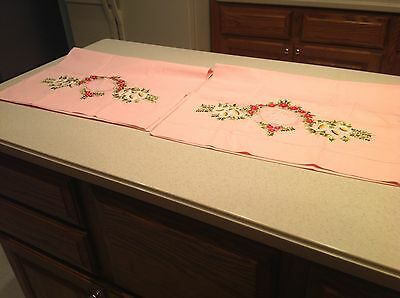 Awesome Vintage Embroidered and Lace Pink Pillowcases Pair Very Clean and Nice!!