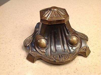 Vintage Inkwell Brass Ornate with Glass Insert Four Footed