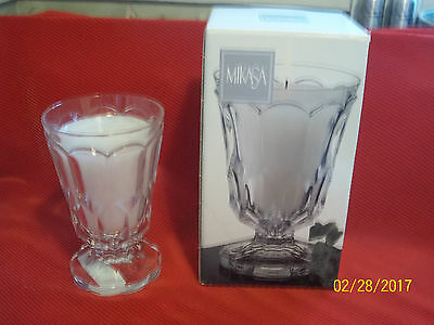 MIKASA Lead Crystal Stockton Pattern #3097 Footed Iced Tea Glass Goblet -Candle
