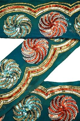 Vintage Trim Indian Ribbon Saree Border Embroidered  Deco Craft by The Yd ST2189