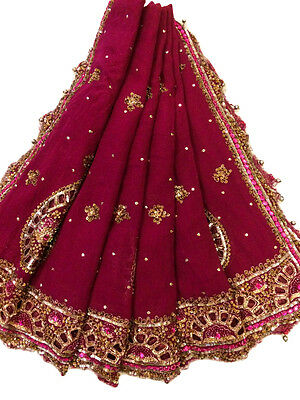 Vintage Heavy Dupatta Antique Women Bridal Long Scarf Embroidered Stole HD1034