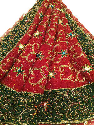 Vintage Heavy Dupatta Antique Women Bridal Long Scarf Embroidered Stole HD1047