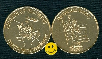 Statue Of Liberty - Knights Of Columbus - Flag - Horse - Doubloon Token 1970