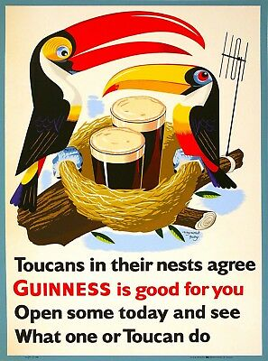Guinness Beer Toucan Ireland Great Britain Vintage Travel Art Poster Print