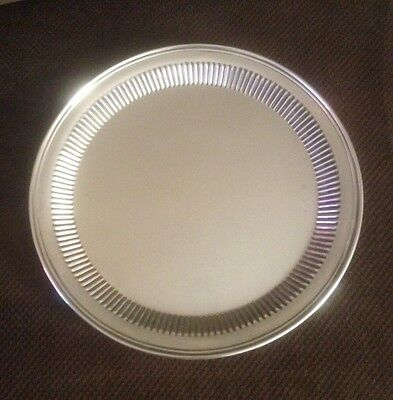 """Vintage Leonard Silver Serving Tray - Drinks Appetizers 13"""" Round, Post-1945 era"""
