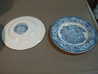 2 LIBERTY BLUE HISTORIC COLONIAL plate MONTICELLO made in england 6""