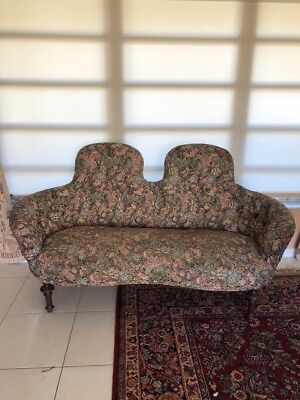 Rare Victorian Camelback Settee - Walnut And Floral Brocade
