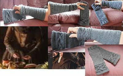 New Pair MacKenzie Clan Out-lander Gray Fingerless Sleeves Mittens, Claire Mits!