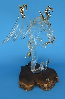 Large Glass Baron DRAGON glass figurine with 22k gold accents Vintage 9x8 inch