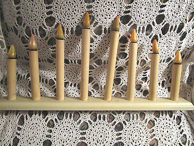 8 WOODEN ROYAL CHRISTMAS LIGHT CANDOLIER Electric XMAS Window Lite