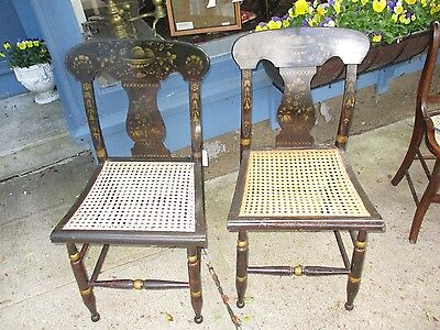 Antique Sheraton-Empire Pair Of Caned Side Chairs
