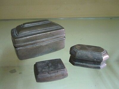 A lot of 3pcs old Hand Crafted solid Brass small or miniature Box