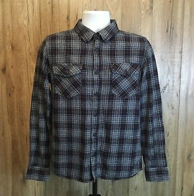 Vintage Mens 100% Cotton Vans Shirt Size Small Long Sleeve Check Flannel Top
