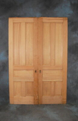 "Original Antique 30"" x 90"" Pine Stripped 5 Panel Double Pocket Door Set, Vintage"