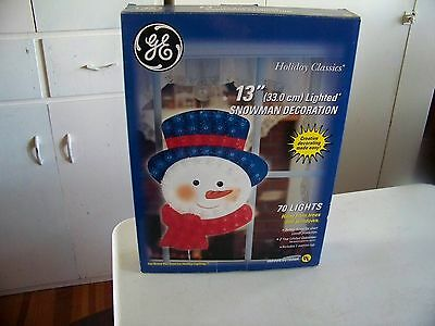 "Vtg Light Up 13"" Snowman Decoration In Original Box By General Electric 2005 Nos"