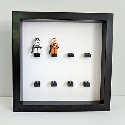 LEGO minifigure frame display case BLACK holds 8 lego mini figures ...